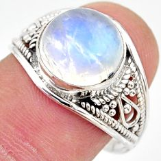 5.22cts natural rainbow moonstone 925 silver solitaire ring size 8 r35437