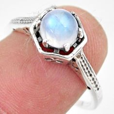 1.24cts natural rainbow moonstone 925 silver solitaire ring size 8 r35959