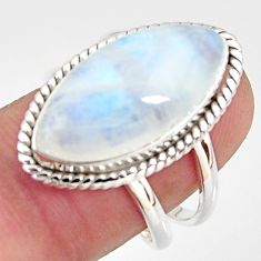 13.27cts natural rainbow moonstone 925 silver solitaire ring size 8 r37731