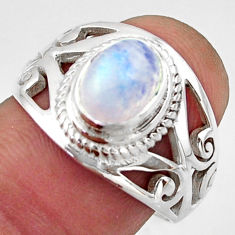 2.26cts natural rainbow moonstone 925 silver solitaire ring size 8 r40920