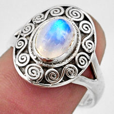 2.09cts natural rainbow moonstone 925 silver solitaire ring size 8 r40940