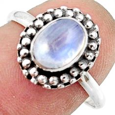 2.38cts natural rainbow moonstone 925 silver solitaire ring size 8 r41459