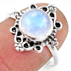 3.03cts natural rainbow moonstone 925 silver solitaire ring size 8 r41497