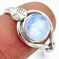 3.29cts natural rainbow moonstone 925 silver solitaire ring size 8 r41539