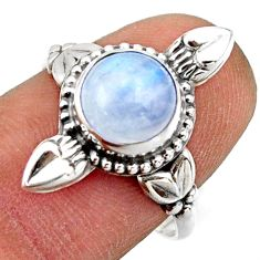 3.29cts natural rainbow moonstone 925 silver solitaire ring size 8 r41597