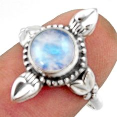 3.05cts natural rainbow moonstone 925 silver solitaire ring size 8 r41598