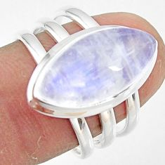 8.81cts natural rainbow moonstone 925 silver solitaire ring size 8 r47412