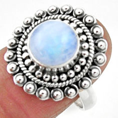 4.91cts natural rainbow moonstone 925 silver solitaire ring size 8 r52523