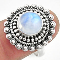 5.12cts natural rainbow moonstone 925 silver solitaire ring size 8 r52535