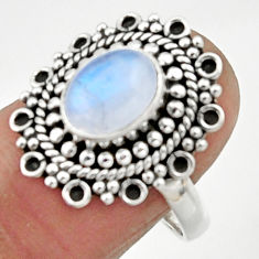 3.14cts natural rainbow moonstone 925 silver solitaire ring size 8 r52545