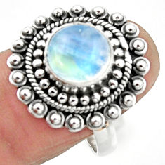 5.41cts natural rainbow moonstone 925 silver solitaire ring size 8 r52660