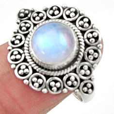4.94cts natural rainbow moonstone 925 silver solitaire ring size 8 r52697