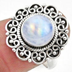 4.70cts natural rainbow moonstone 925 silver solitaire ring size 8 r52698