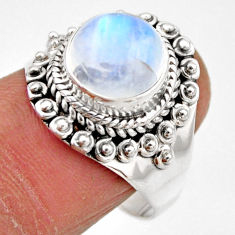 4.92cts natural rainbow moonstone 925 silver solitaire ring size 8 r53281