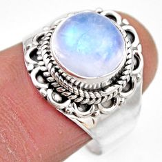 4.69cts natural rainbow moonstone 925 silver solitaire ring size 8 r53285