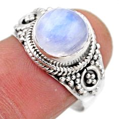 4.82cts natural rainbow moonstone 925 silver solitaire ring size 8 r53286