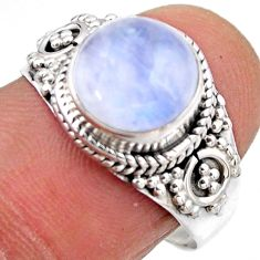 4.67cts natural rainbow moonstone 925 silver solitaire ring size 8 r53288