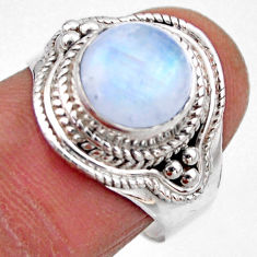 4.93cts natural rainbow moonstone 925 silver solitaire ring size 8 r53292