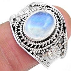 4.38cts natural rainbow moonstone 925 silver solitaire ring size 8 r53610