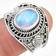 4.52cts natural rainbow moonstone 925 silver solitaire ring size 8 r53620