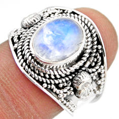 4.38cts natural rainbow moonstone 925 silver solitaire ring size 8 r53639