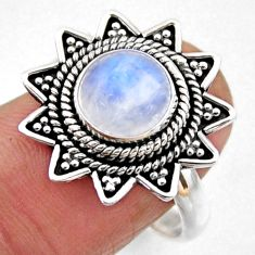3.02cts natural rainbow moonstone 925 silver solitaire ring size 8 r54316