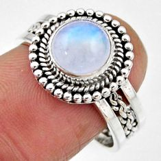 3.23cts natural rainbow moonstone 925 silver solitaire ring size 8 r54317