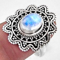 2.19cts natural rainbow moonstone 925 silver solitaire ring size 8 r54359