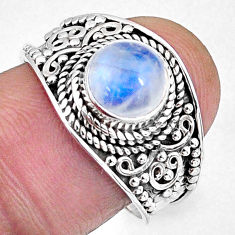 2.44cts natural rainbow moonstone 925 silver solitaire ring size 8 r58034