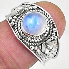 2.67cts natural rainbow moonstone 925 silver solitaire ring size 8 r58035