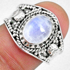 3.19cts natural rainbow moonstone 925 silver solitaire ring size 8 r58344