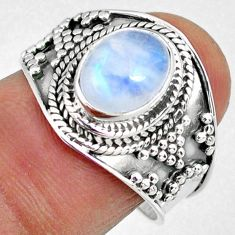 3.26cts natural rainbow moonstone 925 silver solitaire ring size 8 r58353