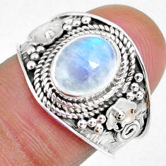 2.92cts natural rainbow moonstone 925 silver solitaire ring size 8 r58358