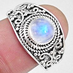 2.93cts natural rainbow moonstone 925 silver solitaire ring size 8 r58612