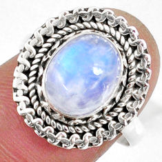 3.98cts natural rainbow moonstone 925 silver solitaire ring size 8 r58925