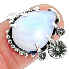 10.41cts natural rainbow moonstone 925 silver solitaire ring size 8 r67380