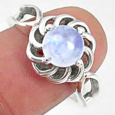 2.53cts natural rainbow moonstone 925 silver solitaire ring size 8 r68700