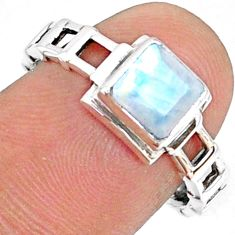 1.29cts natural rainbow moonstone 925 silver solitaire ring size 8 r68737