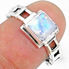 1.28cts natural rainbow moonstone 925 silver solitaire ring size 8 r68738
