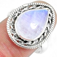 6.16cts natural rainbow moonstone silver solitaire handmade ring size 8 r74110