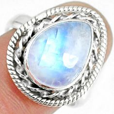 5.09cts natural rainbow moonstone silver solitaire handmade ring size 8 r74119