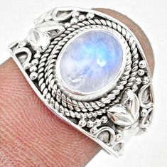 3.19cts natural rainbow moonstone 925 silver solitaire ring size 8 r74757