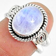 5.36cts natural rainbow moonstone 925 silver solitaire ring size 8 r76349