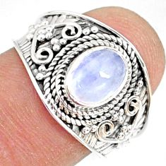 1.99cts natural rainbow moonstone 925 silver solitaire ring size 8 r81462