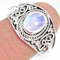 2.33cts natural rainbow moonstone 925 silver solitaire ring size 8 r81466