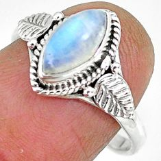 2.56cts natural rainbow moonstone 925 silver solitaire ring size 8 r92609