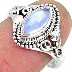 2.41cts natural rainbow moonstone 925 silver solitaire ring size 8 r92612