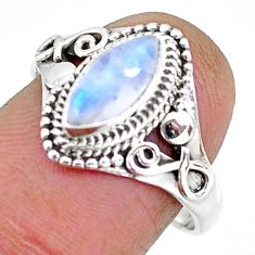 2.53cts natural rainbow moonstone 925 silver solitaire ring size 8 r92615