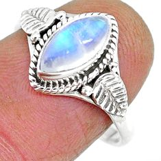 2.58cts natural rainbow moonstone 925 silver solitaire ring size 8 r92620