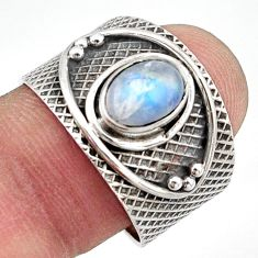 1.81cts natural rainbow moonstone 925 silver solitaire ring size 9 d47519